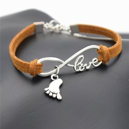 Bracelets Lovely Charming Australia - Unique Handmade Silver Infinity Love Words Wrap Brown Leather Suede Rope Cuff Bracelet for Women Lovely Gift Baby Little Feet Charms Jewelry
