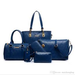 Hand Bags Feathers Australia - Lash Bag 6pcs set Nice New Fashion Women Bag Handbag Shoulder Big Bag Hand Woven Polyester Clutch Bags