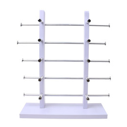 sunglasses rack glasses NZ - 5-Layer Sunglasses Eyeglasses Display Wooden Frame Rack Stand Holder Organizer Earing Jewelry Packaging -White