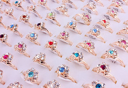 Gold peacock rinGs online shopping - Top Quality Pretty Alloy Gold Plated Rhinestone Peacock Ring New Mixed Man And Woman Charm Luster Rings