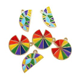 enamel connectors NZ - 10pcs lot Multi Color Enamel Pendants For Bracelet Earring Phone Accessories High Quality Jewelry DIY Charm Round semi-circular optional
