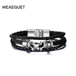 Hematite Jewelry Sets NZ - leather bracelet Meaeguet High Quality X Cross Charms Hematite Bracelets & Bangles Rock Punk Jewelry Rope Chain Leather Bracelet For Men