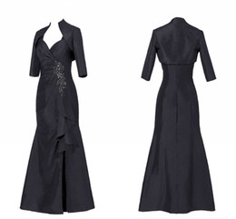 mother bride dresses sequins NZ - Sexy Black Mother of the Bride Groom Suit Dresses With Jacket Mermaid Side Split Taffeta Sequin Beaded Pleated Plus size Evening Gowns Cheap