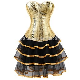 $enCountryForm.capitalKeyWord Australia - leather corset bustiers skirts dresses tutu burlesque sexy corselet overbust costume cosplay gothic plus size gold with bling