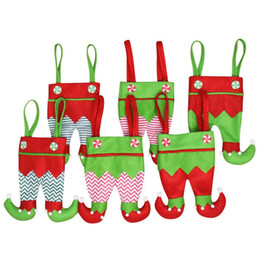 $enCountryForm.capitalKeyWord Australia - Non Woven Fabric Christmas Elf Pants Stocking Candy Bag Kids X-mas Party Decorations Ornament Best Gifts Halloween Supplies 6 Color DHL Free