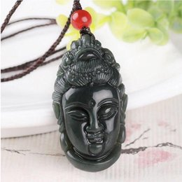 $enCountryForm.capitalKeyWord Australia - Fine Jewelry Natural Hetian Qing Jade Carved Chinese Guanyin Pendant Blessing Brave Women Men Necklace Hot