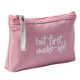 Fashion Women Lettle Cosmetic Bag Linen Concise Washing Toiletry Kits  Makeup Bag Light Weight Portable Female Travel Organizer Neceser Mujer 7a5480d677