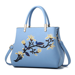 hand embroidery shoulder bag UK - Fashion Women Handbags PU Leather Totes Bag Top-handle Embroidery Crossbody Bag Shoulder Bag Lady Simple Style Hand Bags Sky Blue