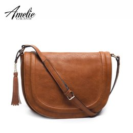 large brown crossbody bag NZ - Amelie Galanti Large Saddle Bag Crossbody Bags For Women Brown Flap Purses With Tassel Over The Shoulder Long Strap J190612