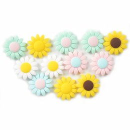 $enCountryForm.capitalKeyWord Australia - 40mm New Product Sunflower Bead Made Of Food Grade Silicone With Baby Teether Bracelet   necklace DIY Fashion Silicone Pendant
