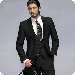 Wholesale tailor suits resale online - Tailored Black Men Suits Wedding Tuxedos Groom Wear Piece Classic Fit Groomsmen Wear Man Blazer Outfit Slim Terno Masculino Costume Homme