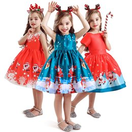Party frocks dresses online shopping - Xmas Santa Clus Costume For Girl Dress Christmas Children Ceremony Snowflake Party Princess Frock Children Bridesmaid Evening Dresses
