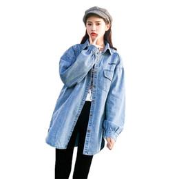 005a7627f Coat Women Light Blue 2019 Spring Autumn Korean Loose Long Denim Jackets  Fashion Long Sleeve Irregular Jean Coats Feminina CX862