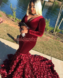 Sage green flower girlS online shopping - Sexy Black Girl Rose V Neck Prom Dresses Handmade Flower Mermaid Long Sleeve African Formal Party Evening Gowns Guest Wear Robe De Soiree