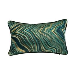 $enCountryForm.capitalKeyWord UK - Contemporary Soft Woven Geometric Waist Pillow Case 30x50 cm Home Living Deco Sofa Car Chair Dark Green Lumbar Cushion Cover Sell by Piece