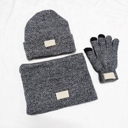 hair glove UK - Winter Knitted Caps Infinity Scarves And Gloves Inner Fine Hair Warm And Soft Beanies Black Five Fingers Gloves