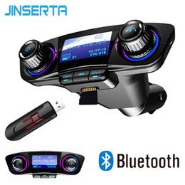 Leitores de alta fidelidade JINSERTA Mini Bluetooth MP3 Player com transmissor FM Tela LED Handsfree TF Card USB Play Car MP3 Player venda por atacado