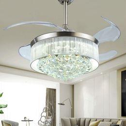 Lighted Fan Blades Australia - Led Ceiling Fans Light AC 110V 220V Invisible Blades Ceiling Fans Modern Fan Lamp Living Room Bedroom Chandeliers dhl