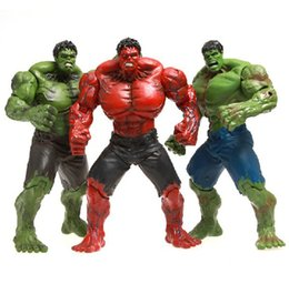 """Red Hulk Figures Australia - Red Hulk Action Figure Green Hulk The Avengers 10"""" PVC Figure Toy Hands Adjusted Movie Lovers Collection Free shipping"""