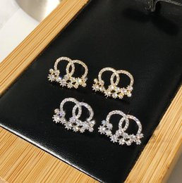 $enCountryForm.capitalKeyWord Australia - Fashion new S925 silver pin small fragrance anti-allergic earrings Ms. C letter shiny rhinestone flower earrings lover gift