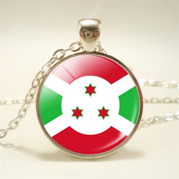 pendant cabochon Canada - Elegant Time Gem Glass Cabochon Burundi National Flag World Cup Football Fan Charm Pendant Choker Necklaces for Women Men Party Gift Jewelry