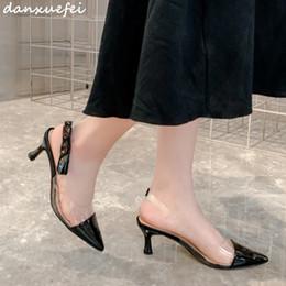 Discount open toe nude color shoes - 3 Color women's genuine leather patchwork slip-on high heel sandals slingback elegant ladies summer evening pumps p