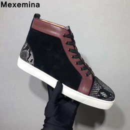 High top cl andgz genuine leather Snake skin red bottoms shoes Lace up For  Men casual Sneakers Flat Loafers Size 37-45 4ed067c90790