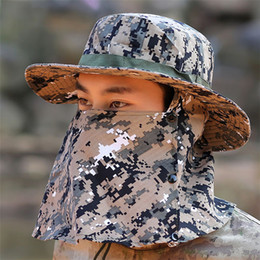 Camouflage Hats Australia - Wholesale Outdoor Men Women Collapsible Fisherman Hat Camouflage windproof UV Sun Protection Fishing Hat Summer Breathable Climbing Sun Cap