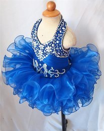 Wholesale Royal Blue Halter Girl s Pageant Dresses Baby Cupcake Ruffles Tutu Infant Flower Girls Dresses Rhinestone Beaded Mini Toddler Princess