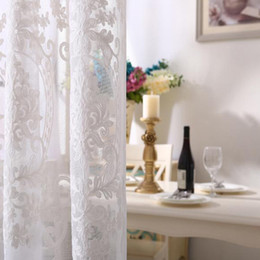 $enCountryForm.capitalKeyWord Australia - curtain White cotton and linen embroidery screen finished products Living room balcony study Bay window curtains custom