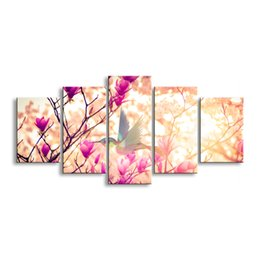 Art Canvas Prints Australia - 5 pieces high-definition print Pink flowers canvas oil painting poster and wall art living room picture PF5-003A