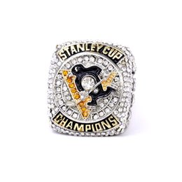 Pittsburgh Rings NZ - New Fashion Men's Ring Golden 2016 Pittsburgh Penguin Champion Alloy Ring
