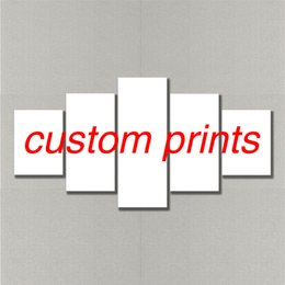 Custom Framed Canvas Prints Australia - Custom Canvas Prints Modern Home Decoration Painting Art Panel Frame 5 Piece Modular Wall Pictures for Living Room Wholesale