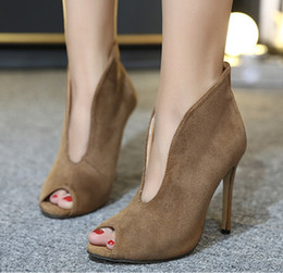 open toe heels 2019 - 2019 New Fashion Woman Faux Suede Pumps Sexy Open Toe Ankle Boots Slip On Deep V Cut High Heel Lady Autumn Shoes discoun