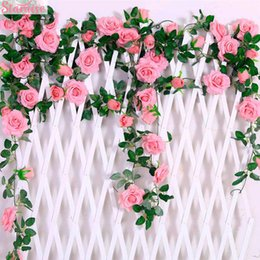 white rose yellow flower garland Australia - Staraise 2.4M lot Silk Rose Flower With Ivy Vine Artificial Flowers for Home Wedding Decor Decorative Artificial Flower Garland