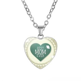Best Glasses Shape Australia - Mother's Day Gift Best MOM Ever Necklaces We Love You Mama Glass Love Heart Shape Pendants chains For women Fashion Jewelry
