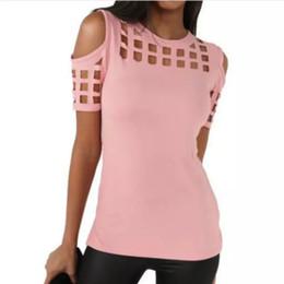 Hollow Block Wholesale Australia - 2018 Summer Blusas Sexy Shirts Slim Hollow Out Shirts Plus Size Block Cold Shoulder Blouse Slim Blusa Feminino Women Tops