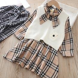 $enCountryForm.capitalKeyWord Australia - 2019 Fall new kids outfits girls lace-up Bows tie lattice princess dress+knitted sweater vest waistcoat 2pcs sets children clothing F9416