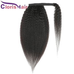 Discount hair colors women Magic Wrap Ponytail Hairpiece Machine Made 100% Human Hair Raw Virgin Indian Kinky Straight Clip In Extensions For Black