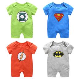 2019 modelos de explosión ropa de bebé unisex Niños manga corta Superman Batman ropa de escalada verano de dibujos animados mameluco del bebé