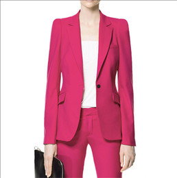 Office wear suits fOr wOmen online shopping - 2019 Hot Pink Pant Suits for Women Custom Made Ladies Business Suits Formal Office Suits Work Wear Fashion Elegant Charming