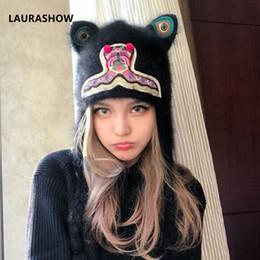 3da29a04371d3 LAURASHOW Faux Fur Hat Female Winter Caps Hats For Women Ear Cute Crochet  Knit Beanies Hat Warm Cap Bonnet