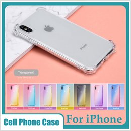 Transparent Colors Case NZ - Gradient Colors Anti Shock Airbag Soft Clear Cases For IPhone XR XS MAX X 8 7 6 Plus 6S Cradle Design case cover