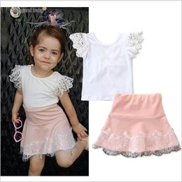 white lace short suit Australia - 2019 New Summer Baby Girl Lace Clothing Sets White Tops+Pink Skirts 2pcs Set Cute Girls Suit Kids Outfits 5sets lot