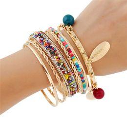 $enCountryForm.capitalKeyWord Australia - fashion jewelry women boho charms bracelet&bangles colorful bohemia arm cuff big Gold-color tribal ethnic bangle set tassel pulseira
