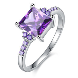 Big gold plated rings online shopping - 2019 Hot Jewelry Female lover Ring jewelry big purple S925 silver exquisiteMicro Square crystal Exquisite Lovers Hand Accessories