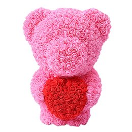 bear dolls UK - 40cm Rose Bear Artificial Flowers Bear Dolls Stand Bear of Rose Decoration Christmas Gifts for Women Valentine's Day gift