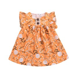 organic girls dresses Australia - Newest INS Little Girls Dresses Fly Sleeveless Front Buttons Collar A-line Flower Cotton Summer Autumn Children Girls Dresses 1-5T