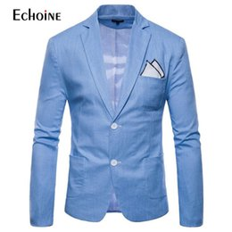 grey linen suits Australia - Fashion Cotton Linen Summer Men Comfort Blazer Mens 2019 New Slim Fit Jacket Suits Blazers Men Quality Casual Suit Plus Size 4xl MX190724