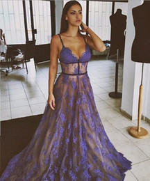 Sample Straps Line Australia - Spaghetti Strap V neck Sexy Lace Tulle A Line Long Evening Dresses Formal Gown Real Sample Floor Length Blue Prom Dress 2019